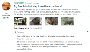 HLUHLUWE GAME RESERVE REVIEW